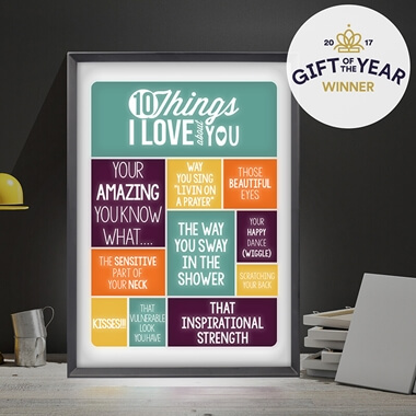 Personalised 10 Things I love About You Light Box