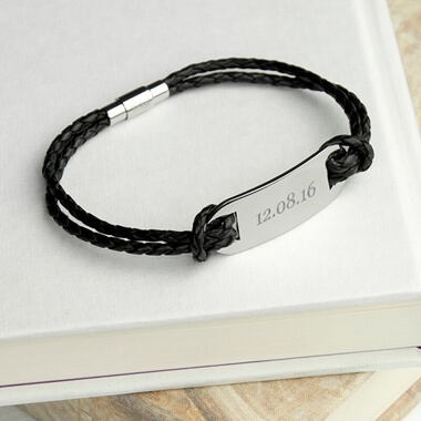 Personalised Men's Leather Statement Bracelet