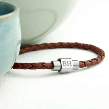 Personalised Men's Leather Bracelet