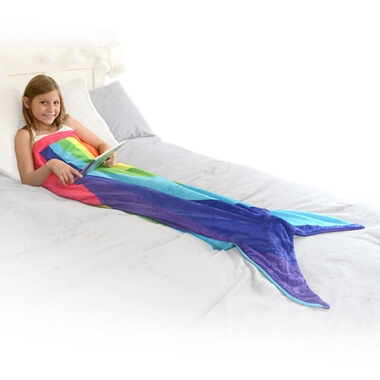 Rainbow Mermaid Tail Blanket