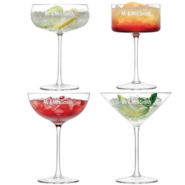 Personalised LSA Cocktail Glass Set