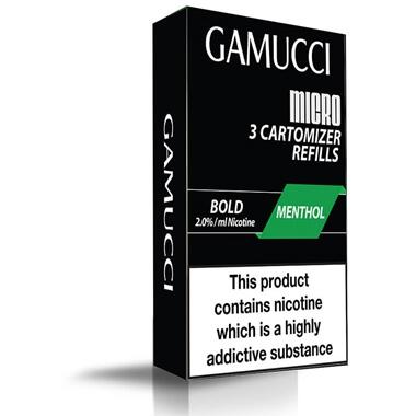 Gamucci Micro Cigarette 3 Cartomizer Refill Pack - Menthol Bold (20mg)