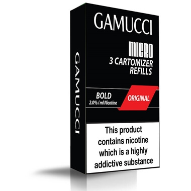 Gamucci Micro Cigarette 3 Cartomizer Refill Pack - Original Bold (20mg)
