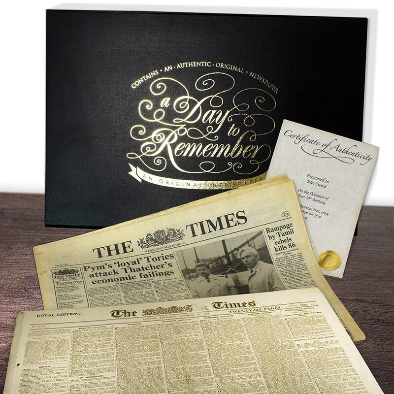 Original Archive Newspaper in Presentation Folder