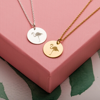 Flamingo Disc Necklace