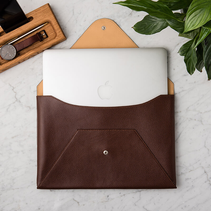 Personalised Mens Leather Laptop Case