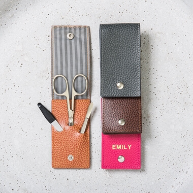 Personalised Leather Manicure Set
