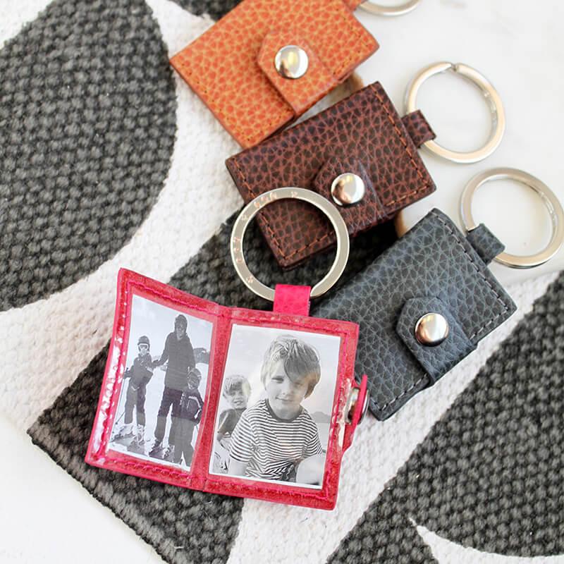 Personalised Mini Leather Photo Keyring