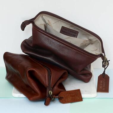 Personalised Leather Washbag