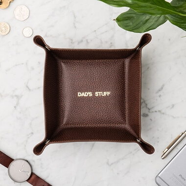 Personalised Men's Leather Desk Tidy