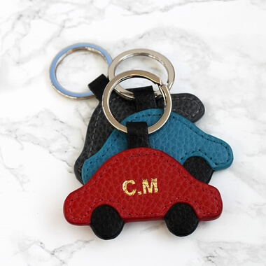 Personalised Leather Car Keyring