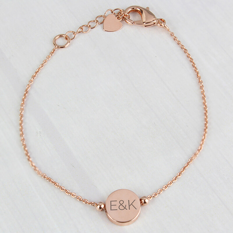 Personalised Rose Gold Plated Disc Bracelet