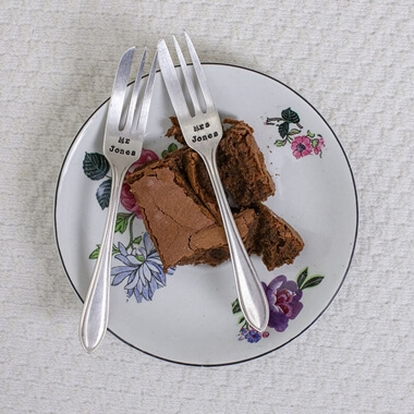 Personalised Cake Fork Set
