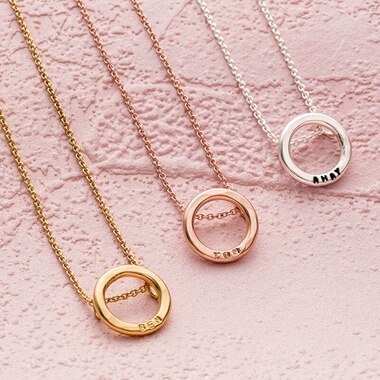 Personalised Small Hoop Necklace