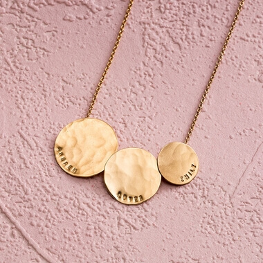 Personalised Triple Hammered Disc Necklace