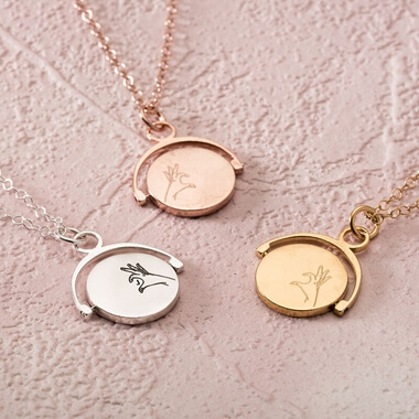 Personalised Spinning Hand Heart Necklace