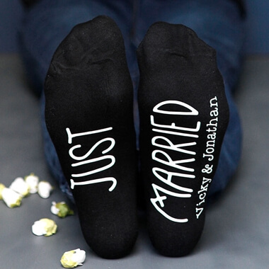 Personalised Just Married Wedding Socks