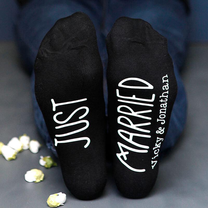 Personalised Just Married Wedding Socks