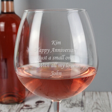 Personalised Bottle of Wine Glass