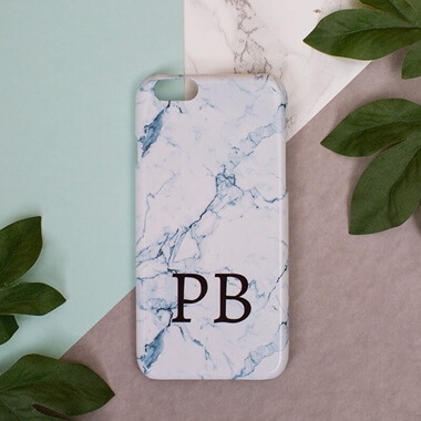 Personalised Light Blue Marble Phone Case