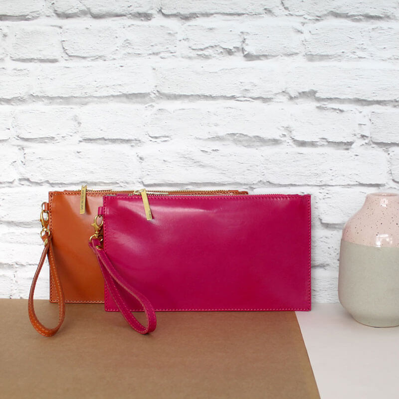 Personalised Leather Clutch Bag