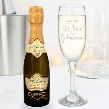 Personalised Mini Prosecco & Glass Set