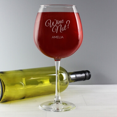 Personalised 'Wine Not' Bottle of Wine Glass