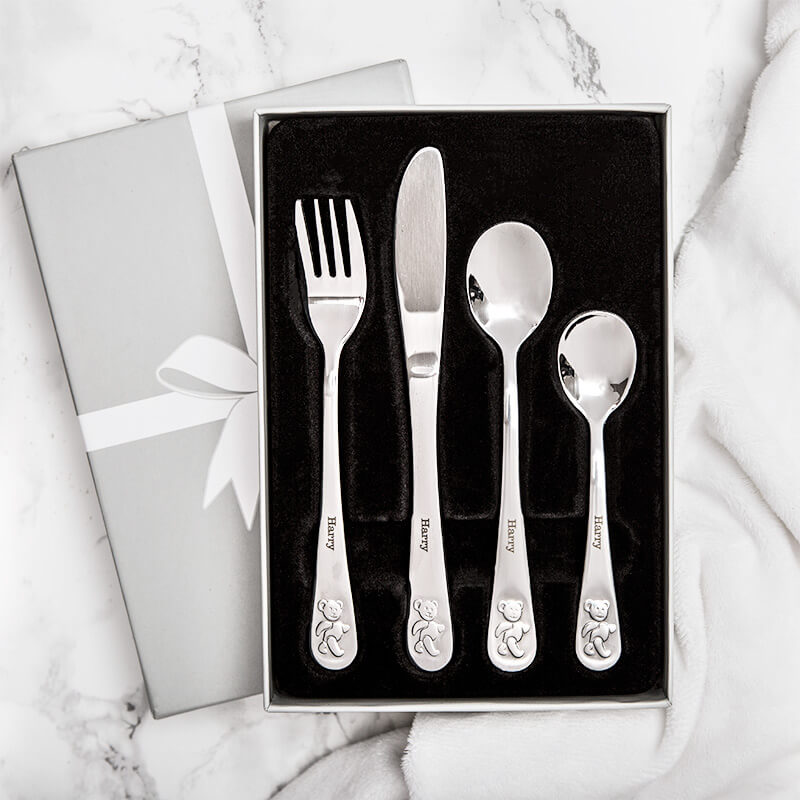 Personalised Teddy Cutlery Set