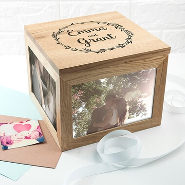 Personalised Couples Oak Photo Keepsake Box