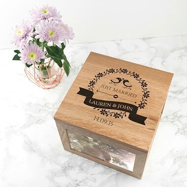Personalised Love Birds' Oak Photo Keepsake Box