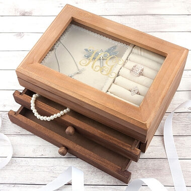 Personalised Monogrammed Wooden Jewellery Box
