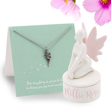 Personalised Fairy Trinket Box and Necklace