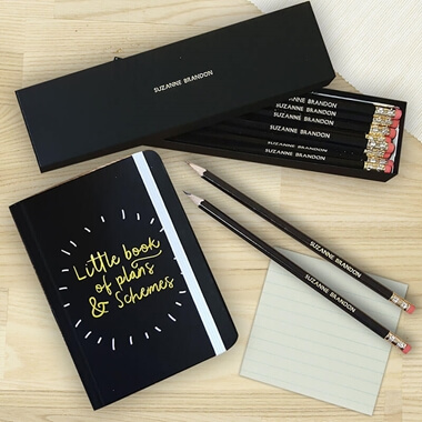Personalised Notebook & Pencils