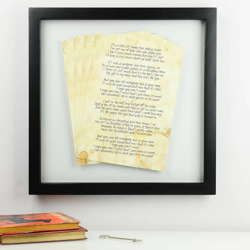 Personalised Framed Floating Lyrics
