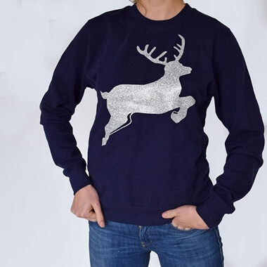 Personalised Glitter Reindeer Christmas Jumper