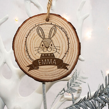 Personalised Rabbit Christmas Tree Decoration
