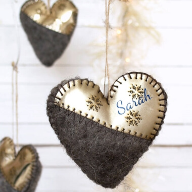 Personalised Felt and Gold Bauble
