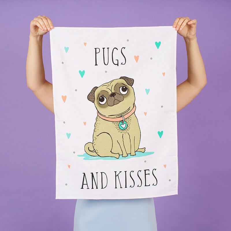 Pugs & Kisses Tea Towel