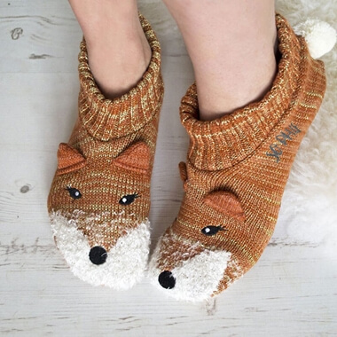 Personalised Glitter Fox Slippers