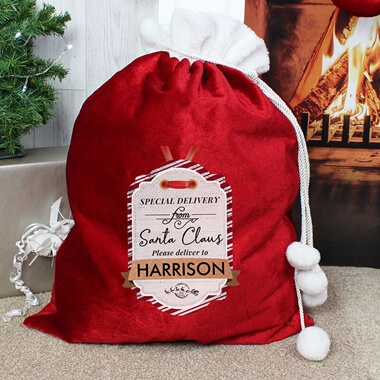 Personalised Luxury Pom Pom Christmas Sack