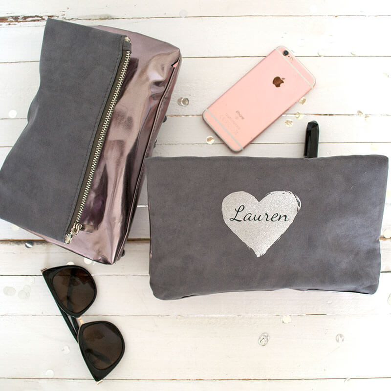 Personalised Metallic Fold Over Clutch Bag