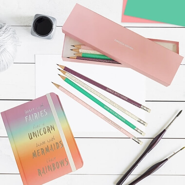 Personalised Rainbow Notebook & Pencils