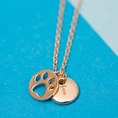Personalised Gold Pawprint Necklace