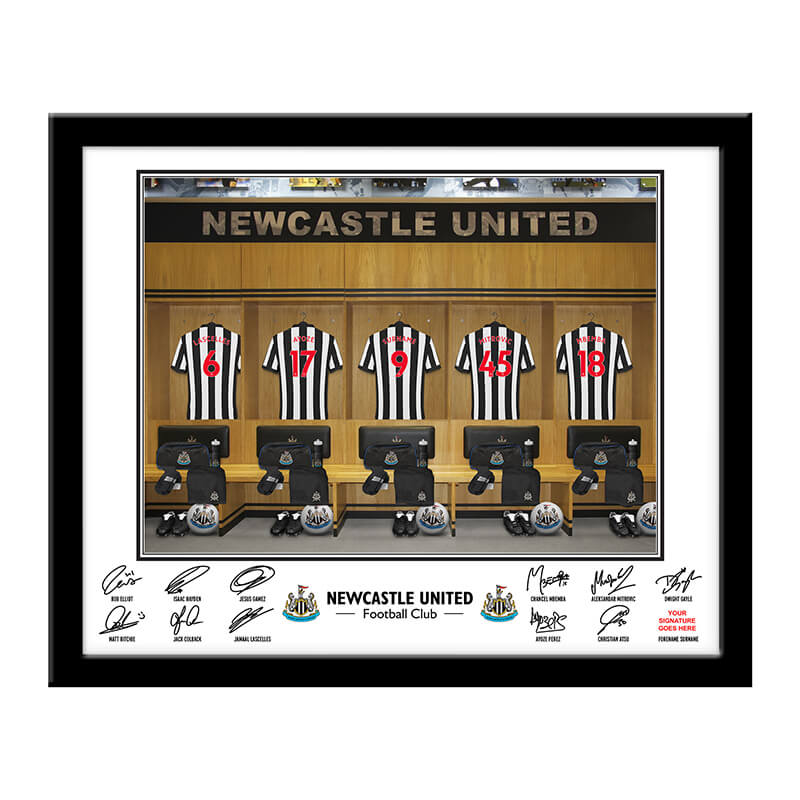 Personalised Newcastle United Dressing Room Framed Print
