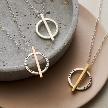 Personalised Circle Bar Necklace