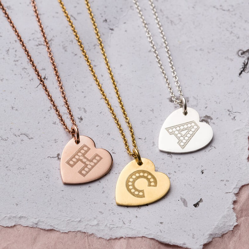 Personalised Letter-In-Lights Heart Necklace