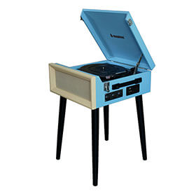 Steepletone 1960's Style Record Player with Legs - Blue