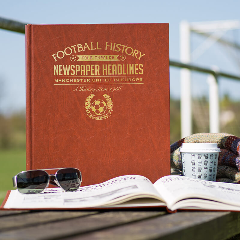 Personalised Manchester United In Europe Football Team History Book