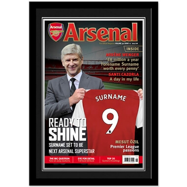 Personalised Arsenal FC Magazine Cover Framed Photo