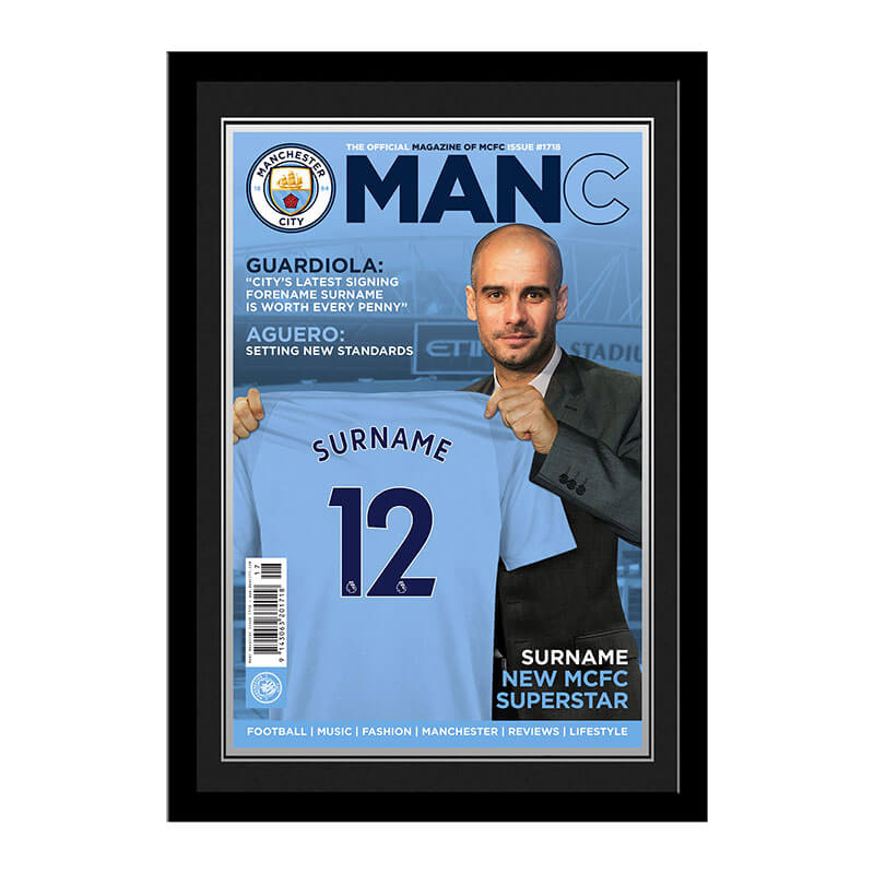 Personalised Manchester City FC Newspaper Front Cover Framed Photo
